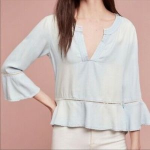 Anthropologie Cloth & Stone Chambray Top